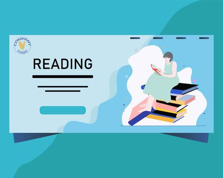 Landing page for read books concept. Landing page with a girl reading books. Template design for banner, poster, web sites. Illustration. 向量圖像