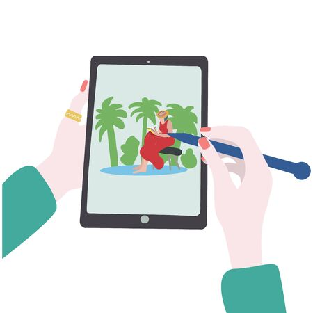 People and gadgets concept. Hands holding a tablet with picture of a girl in vacation sitting on bench. Design for web sites and banners design. Illustration.