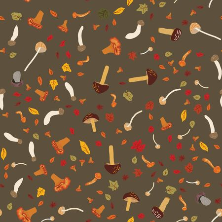 Seamless colorful pattern with mix mushroomsand autumn leaves. Flat cartoon style. Vector illustration.