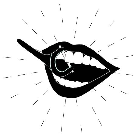Open mouth and dental floss icon illustration on black and white. Dental care concept. Flat cartoon style. Vector Illustration.