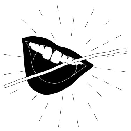 open mouth and dental floss icon illustration on black and white. Dental care concept. Flat cartoon style. Vector Illustration. Ilustrace