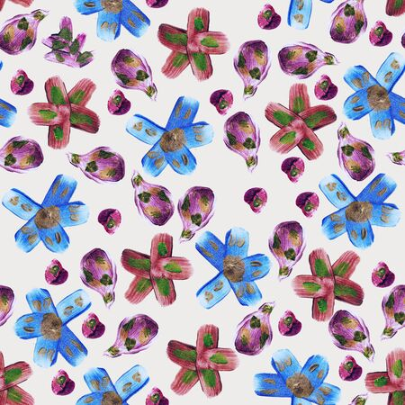 Seamless pattern with bluew metal flowers illustration and brush texture on grey background.