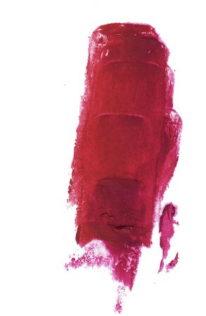 Red lipstick smear isolated on white background. Creamy texture makeup smudge illustration, brush stroke. For card, banner, poster design.