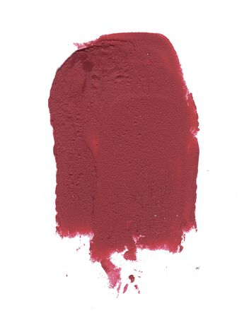 Red matte lipstick smear isolated on white background. Creamy texture makeup smudge illustration, brush stroke. For card, banner, poster design.