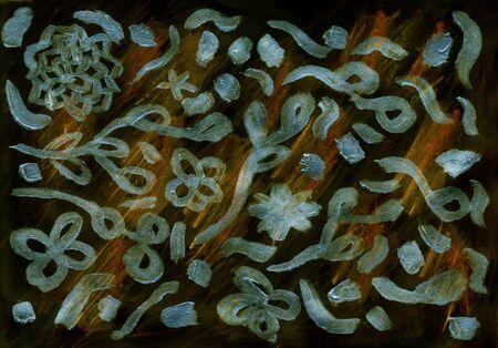 Golden flower and leaves hand painted illustration on balck background. Flower decoration design for card, backdrop, covers, wallpaper Stok Fotoğraf