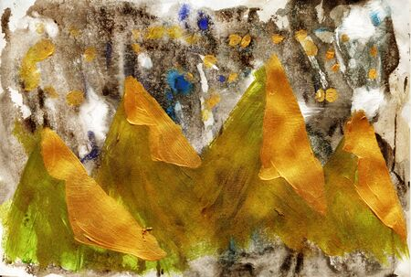 Hand painted texture gold autumn in the mountains. Acrylic metal and gouache paint.