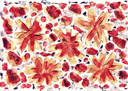 Rusty red autumn hand painted floral background. Flower decoration design for card, backdrop, covers, wallpaper