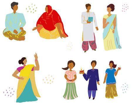 Indian people dressed for diwali celebration Indian festival. Vector illustration.