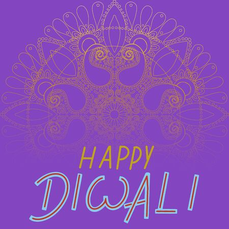 Happy diwali on gold rangoli with purple background. Flat cartoon style. Vector illustration. Illustration