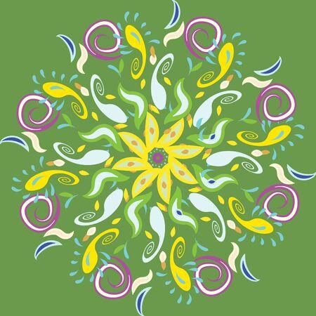 Diwali rangoli beautifull illustration on green background. Flat cartoon style. Vector illustration.