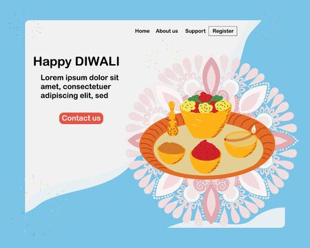 Happy diwali landing page with traditional food plate template vector illustration. Indian traditional celebration, lamp and fireworks decor.