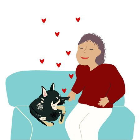 Young girl happily smiling with her favourite chihuahua on sofa. Female spending time at home with her domestic animals. Hearts doodle for happy pet owner. Flat cartoon vector illustration. Çizim