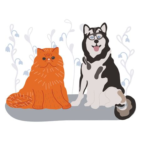 Happy husky dog and ginger cat for pet insurance concept. Vector illustration.