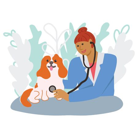 Female vet doctor examining a happy dog with a stethoscope. Pet illustration for pet insurance concept. Vector. Ilustração