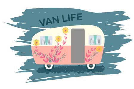 Van life cute camper with flowers decor on texture brush stroke background. Symbol of free travel. Camper tourism. Adventure label. Vector illustration.