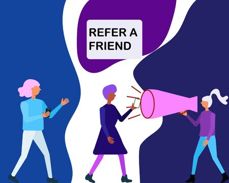 Trendy colour concept of word of mouth advertising refer a friend. Woman shout in a megaphone refer a friend and people come with a friend. For landing page, user interface, web, mobile app, poster, banner. Vector illustration. Vettoriali