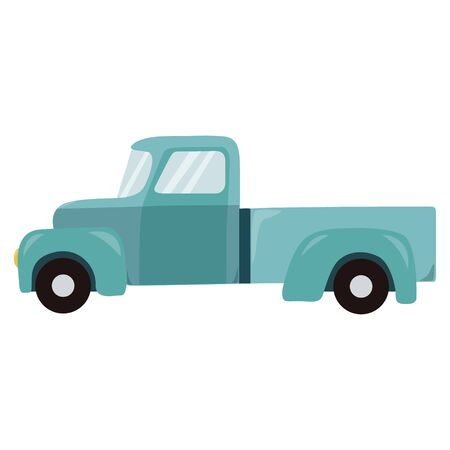 Retro teal truck isolated on white background. Vector Illustration.