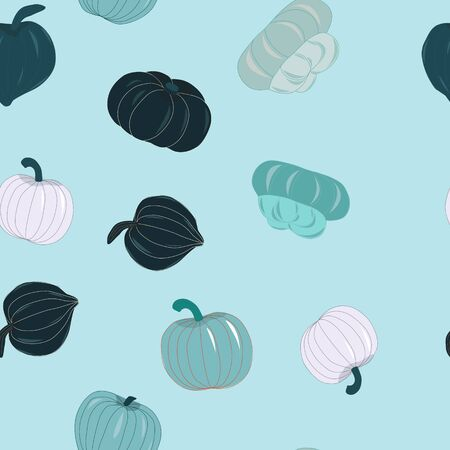 Seamless pattern with light blue and teal pumpkins. Unique and delicious varieties of winter squashes repeat design. Vector Illustration.