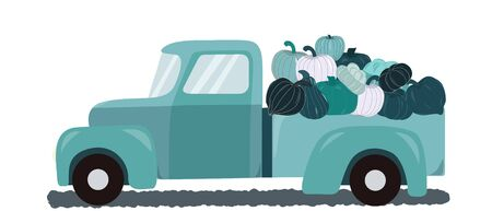 Retro teal truck with fall harvest pumpkins on white background. Unique and delicious varieties of autumnwinter squashes. Vector Illustration.