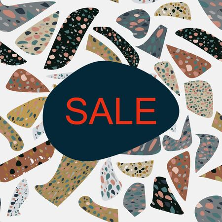Card with note sale on terrazzo seamless pattern. Scattered granite fragments decorative background. Banner, poster, card. Vector illustration.