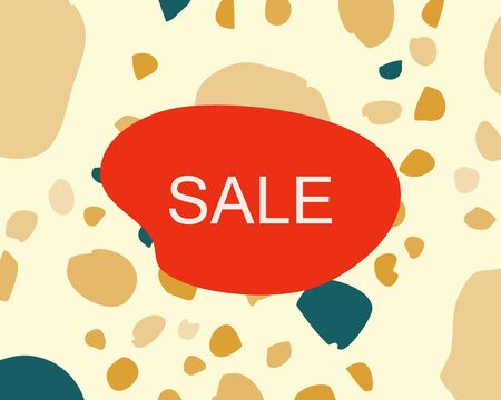 Note sale on terrazzo italian flooring seamless pattern. Chaotic stone particles in mustard and teal color. Banner, poster, card vector illustration.