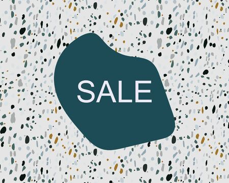 Template with note sale on terrazzo italian flooring seamless pattern. Stone fragments decorative backdrop. Banner, poster, card. Vector illustration.