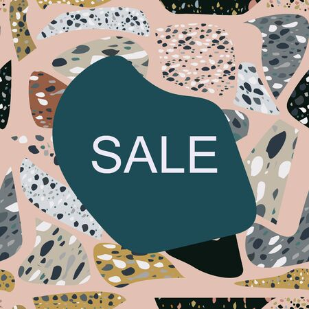 Sale note on card with terrazzo seamless pattern. Chaotic natural stone particles, granite fragments decorative background. Banner, poster, card. Vector illustration.