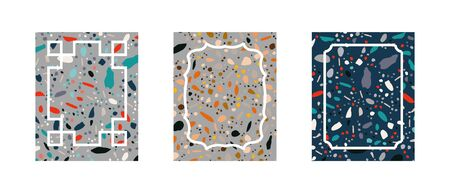 Cards collection with geometric terrazzo seamless textures. Endless pattern set with scattered stone pieces on white background. Banner, poster, greeting card. Vector.