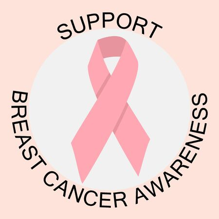 Support breast cancer awareness note with pink ribbon. Motivational circle composition on pink background. Cancer fighting inspirational element. Vector illustration