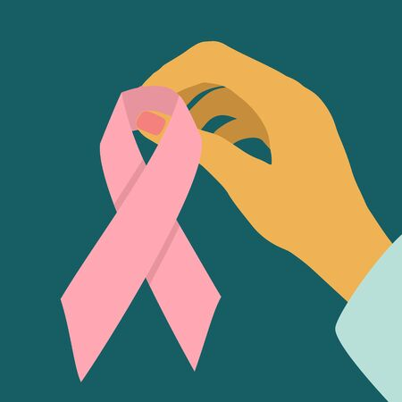 Female hand holding a pink ribbon. Support breast cancer awareness month. Cancer fighting inspirational element. Vector illustration