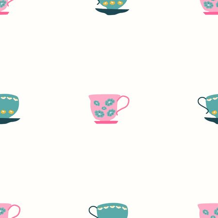 Simple seamless pattern with teal and pink retro tea cups on white background. Endless design for textile, card, cover. Vector illustration. Stok Fotoğraf - 133379781