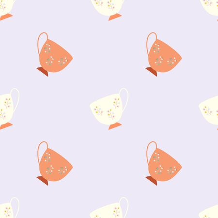 Simple seamless pattern with ivory and orange retro tea cups on lilac background. Endless design for textile, card, cover. Vector illustration. Çizim