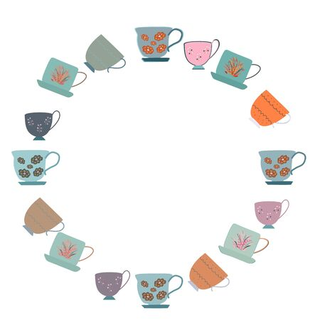 Frame with collection of rare retro tea cups with floral decor. Flat cartoon style. Vector Illustration. Stok Fotoğraf - 133379783