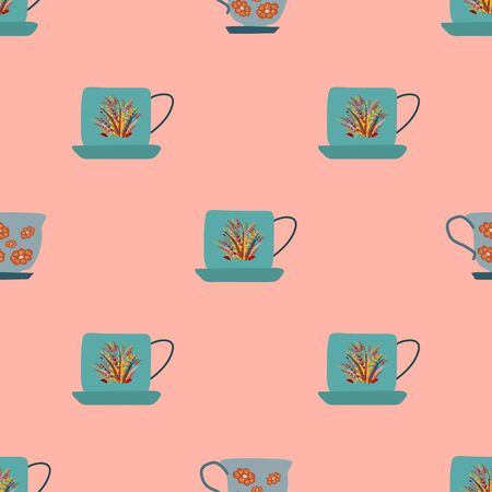 Simple seamless pattern with teal retro tea cups with autumn leaves on coral background. Endless design for textile, card, cover. Vector illustration.