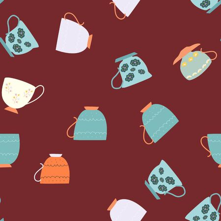 Seamless pattern with teal and orange retro tea cups on chocolate background. Endless design for textile, card, cover. Vector illustration. Stok Fotoğraf - 133379786