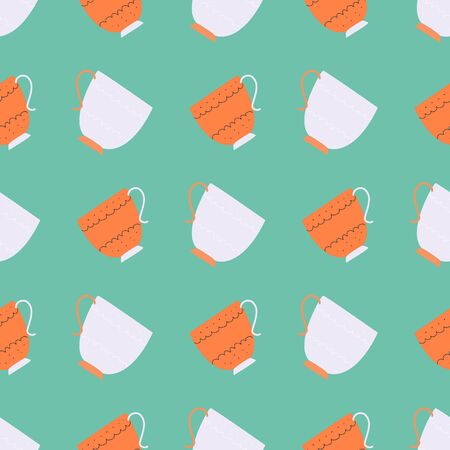 Simple seamless pattern with blue and orange retro tea cups on turquoise background. Endless design for textile, card, cover. Vector illustration.