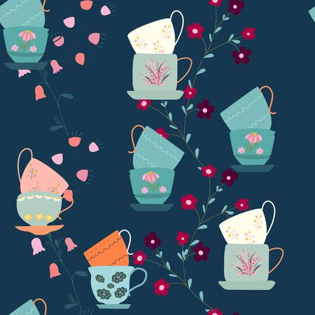 Seamless pattern with stacks of retro tea cups and flowers on blue background. Endless design for textile, card, cover. Vector illustration.