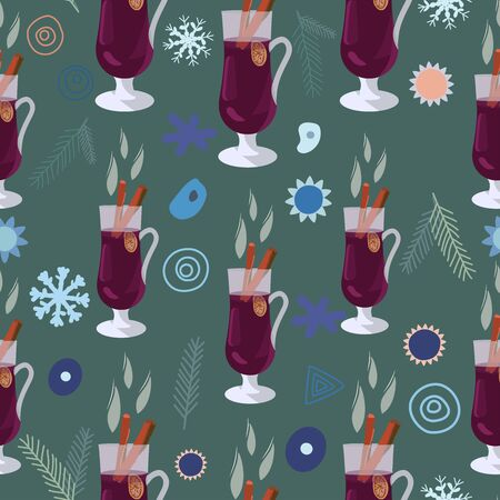 Mulled wine hand drawn holiday composition with decorations. Seamless pattern on green background. Festive textile, web, wrapping paper, background fill.