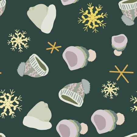 Winter headwear knitted hats with snowflakes seamless pattern on dark green background. Web, wrapping paper, textile, wallpaper design, background fill.