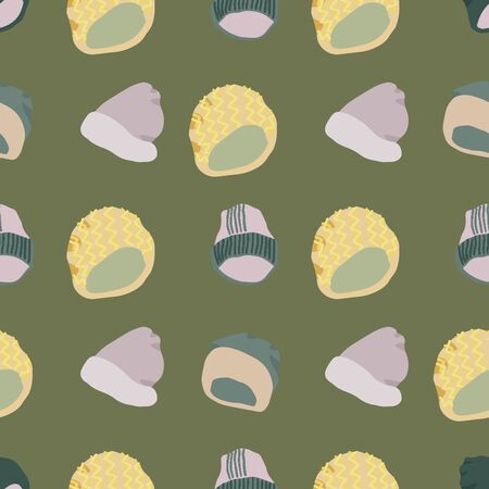 Colourful knitted beanies and hats seamless pattern on khaki green background. Web, wrapping paper, textile, wallpaper design, background fill.