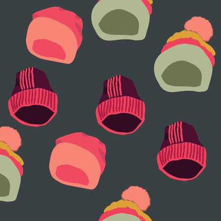Illustration of knitted hats, beanies in seamless pattern on grey background. Web, wrapping paper, textile, wallpaper design, background fill.