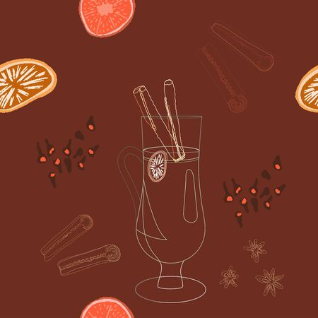 Glass with mulled wine silhouette and spices seamless pattern on brown background. Festive textile, web, wrapping paper, background fill.