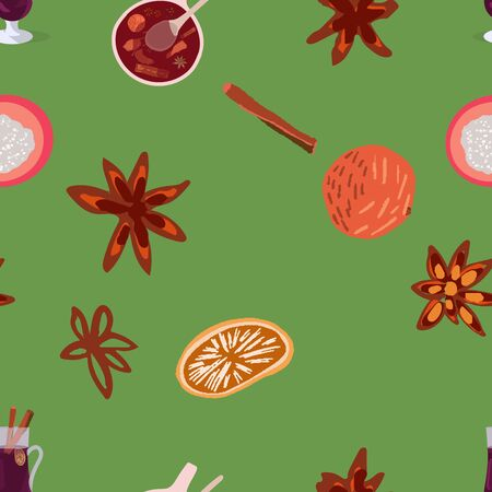 Mulled spices seamless pattern on green background. Festive textile, web, wrapping paper, background fill.