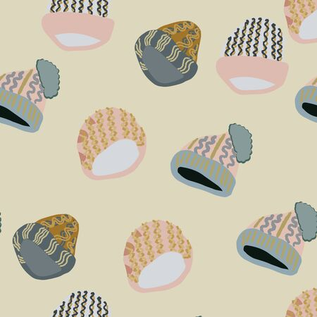 Illustration of knitted beanies seamless pattern on beige background Web, wrapping paper, textile, wallpaper design, background fill.  イラスト・ベクター素材