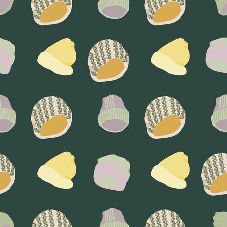 Colourful knitted beanies and hats seamless pattern on dark green background. Web, wrapping paper, textile, wallpaper design, background fill.