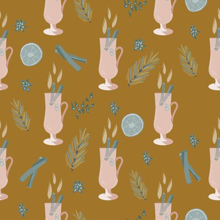 Glasses with mulled wine and pine tree twigs seamless pattern on mustard background. Festive textile, web, wrapping paper, background fill.