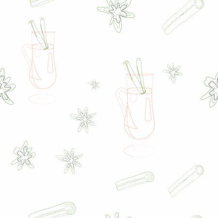 Glasses with mulled wine and spices silhouette seamless pattern on white background. Festive textile, web, wrapping paper, background fill.