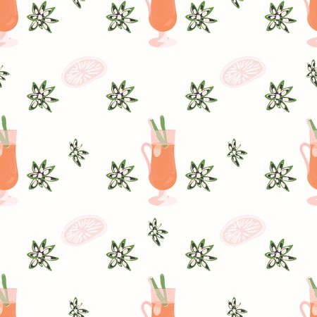 Mulled wine cup and spices seamless pattern on white background. Festive textile, web, wrapping paper, background fill.