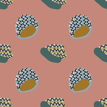 Colourful knitted beanies seamless pattern on dusty pink background. Web, wrapping paper, textile, wallpaper design, background fill.