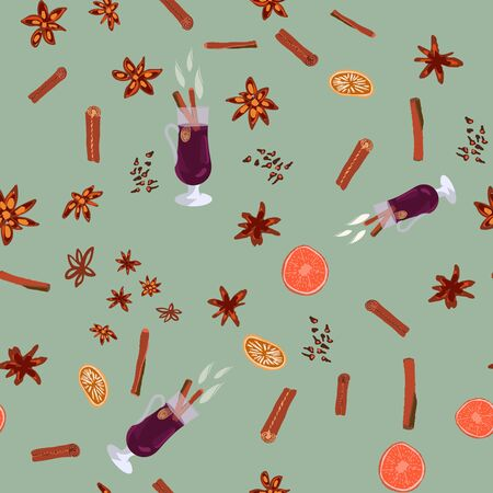 Hot drink mulled wine and spices seamless pattern on green background. Festive textile, web, wrapping paper, background fill.